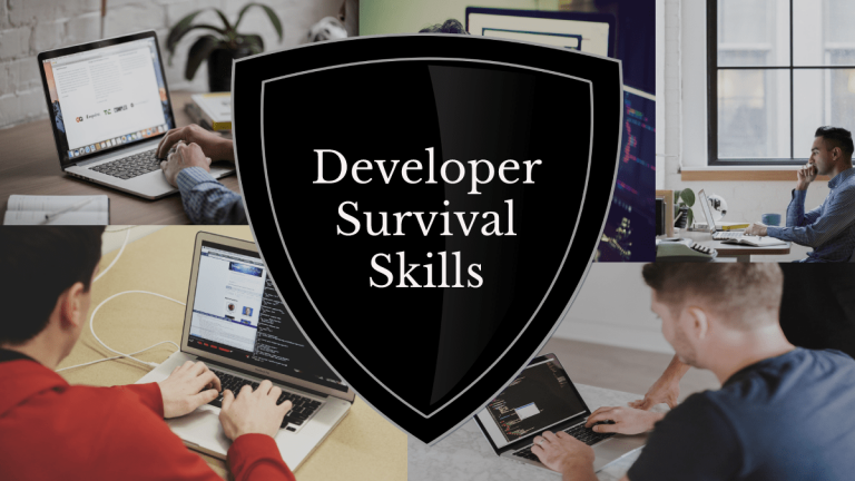 """A collage of 5 pictures of people working on their laptops. A black shield is overlaid on top of the collage with text on top of it saying """"Developer Survival Skills"""""""