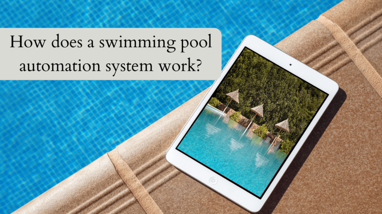 The picture shows a tablet PC sitting next to the edge of a pool. The tablet shows the picture of a pool