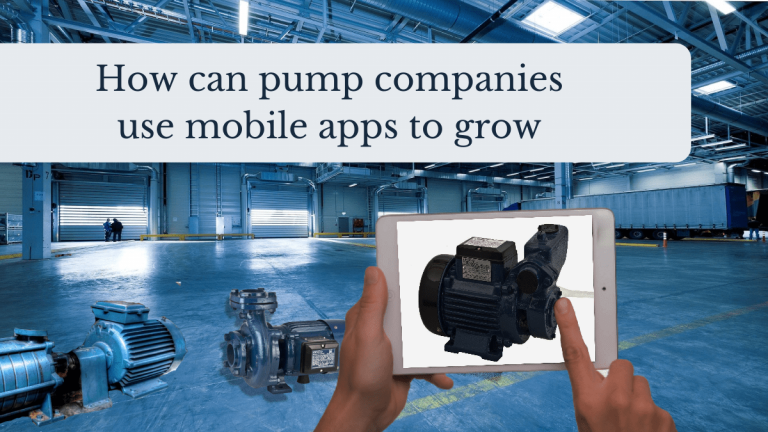The image shows the POV of someone looking at a water pump on a mobile app. In the background, you can see a warehouse with multiple pump sets lying in the background