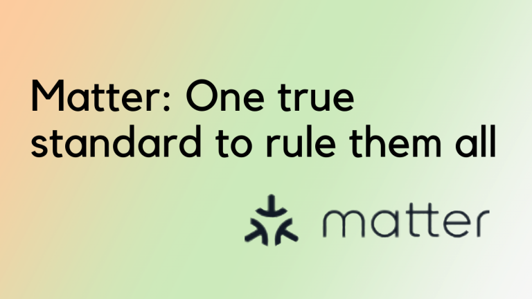 """Text says """"Matter:One true standard to rule them all"""". The background is a gradient of light pink, green, and white. The logo of matter, three arrows pointing at each other along with the word Matter is shown at the bottom of the picture"""