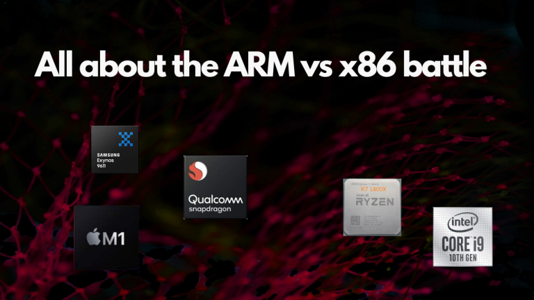 """The text says """"All about the ARM vs x86 battle"""". The image has a dark red theme. Pictures of ARM and x86 chips are shown in the image"""