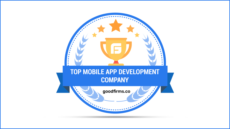 """The text says """"Top mobile app development company."""" The image looks like a badge, with a blue theme and a trophy in the background"""