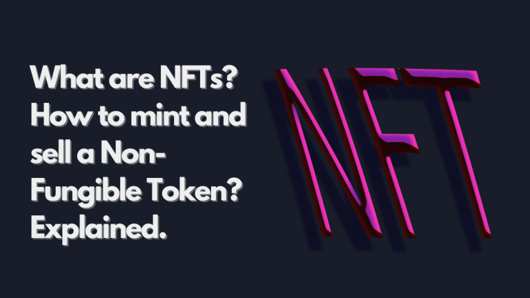 """The text reads """"What are NFTs? How to mint and sell a Non-Fungible Token? Explained."""" The image has a dark background, and the text appears to be raised from the suface. On the left side, the word NFT is shown and with a violet embossed look, raised from the surfce."""