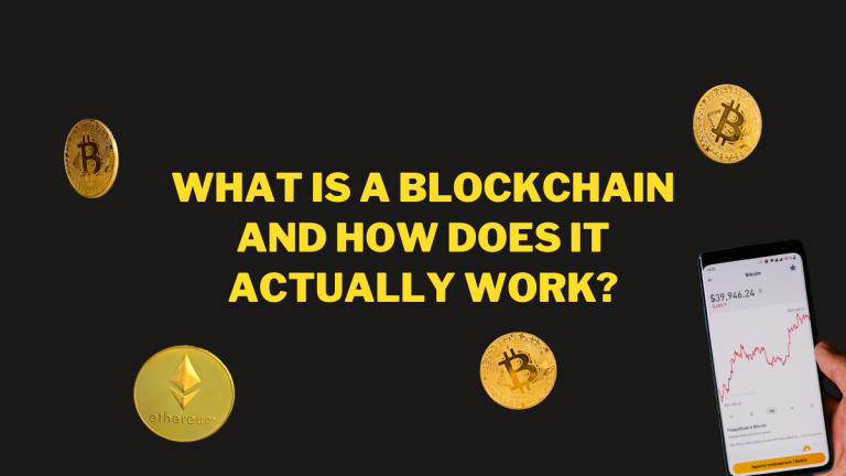 """The text reads """"What is a blockchain and how does it actually work?"""" The image has a black background, and shows depictions of Bitcoin and Ethereum. On the right hand side a smartphone screen can be seen showing a graphic describing the fluctuation of various cryptocurrencies"""