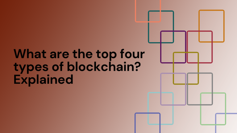 """Text reads """"What are the four different types of blockchain?"""" The image has a red gradient background and on the left side a set of interconnected rectangles are shown."""